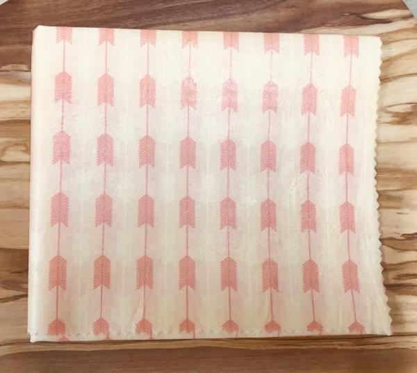 Bienenwachs Brot & Kuchentuch 35cm x 45cm Pfeile rosa